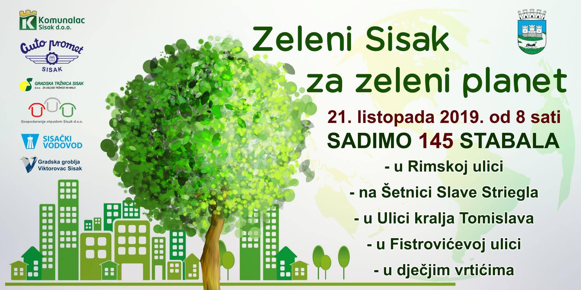 """U ponedjeljak akcija """"Zeleni Sisak za zeleni planet"""" – zasadit će se 145 novih stabala"""