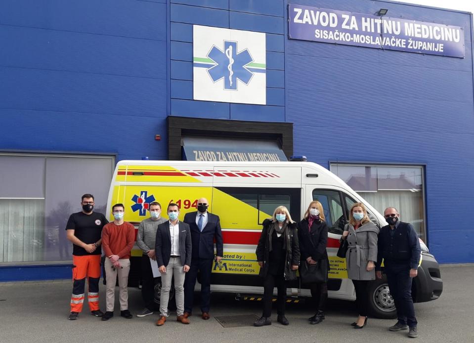 International Medical Corps donira ambulantno vozilo Zavodu za hitnu medicinu Sisačko-moslavačke županije